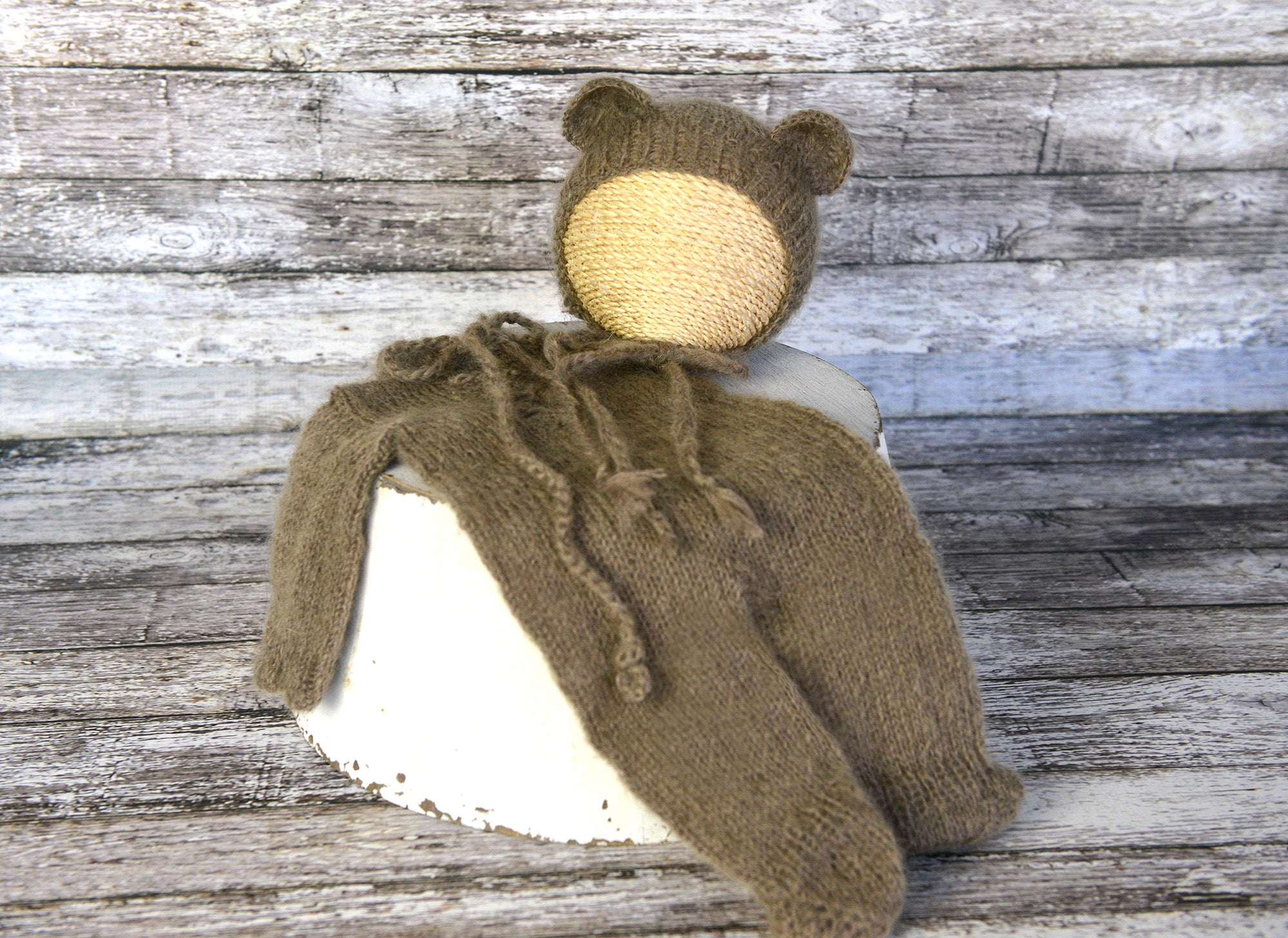 Mohair Bear Bonnet and Suit for newborn photography
