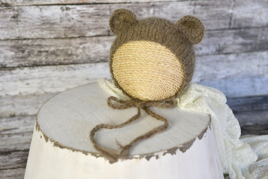 SET Mohair Bear Bonnet and Suit - Dark Brown