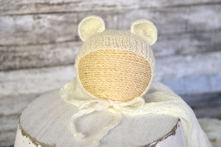SET Mohair Bear Bonnet and Suit - Off White