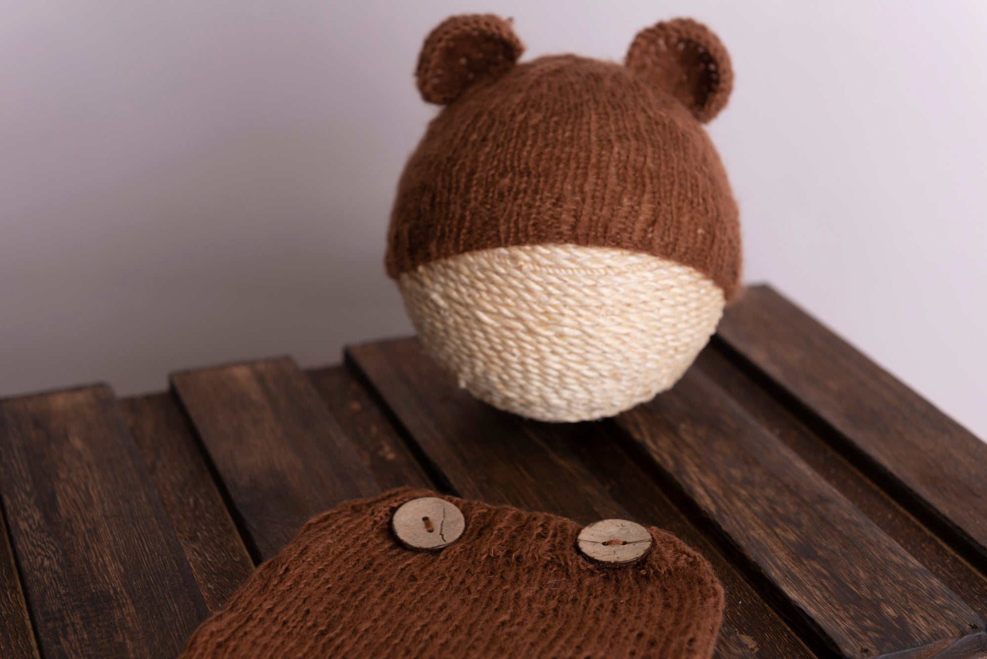 SET Mohair Bear Hat and Pants - Brown