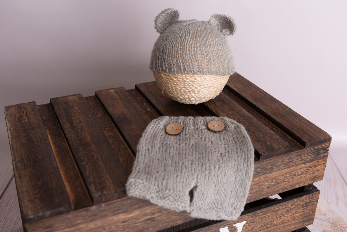 SET Mohair Bear Hat and Pants - Silver