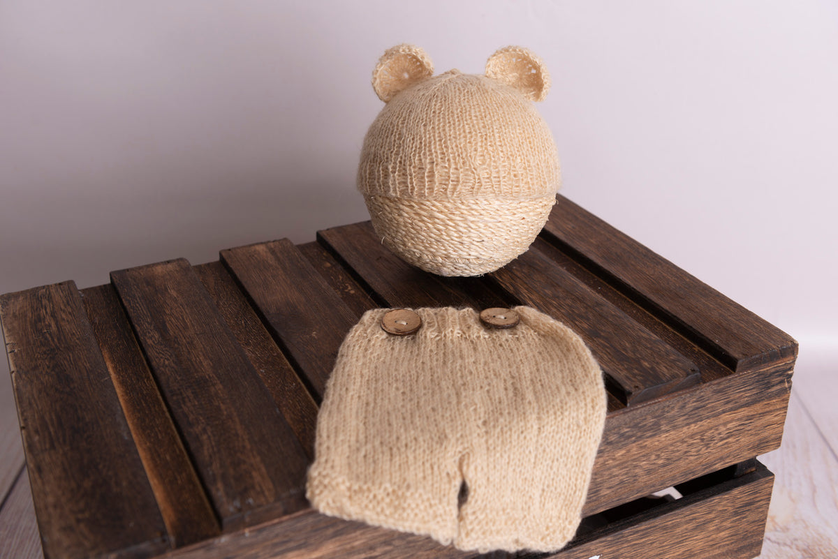 SET Mohair Bear Hat and Pants - Beige