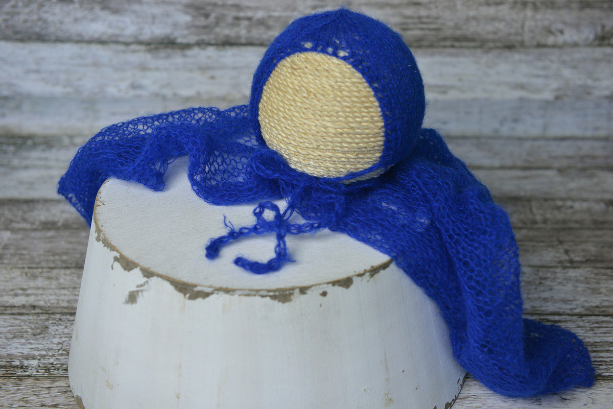 Knit Wrap and Bonnet for newborn photography