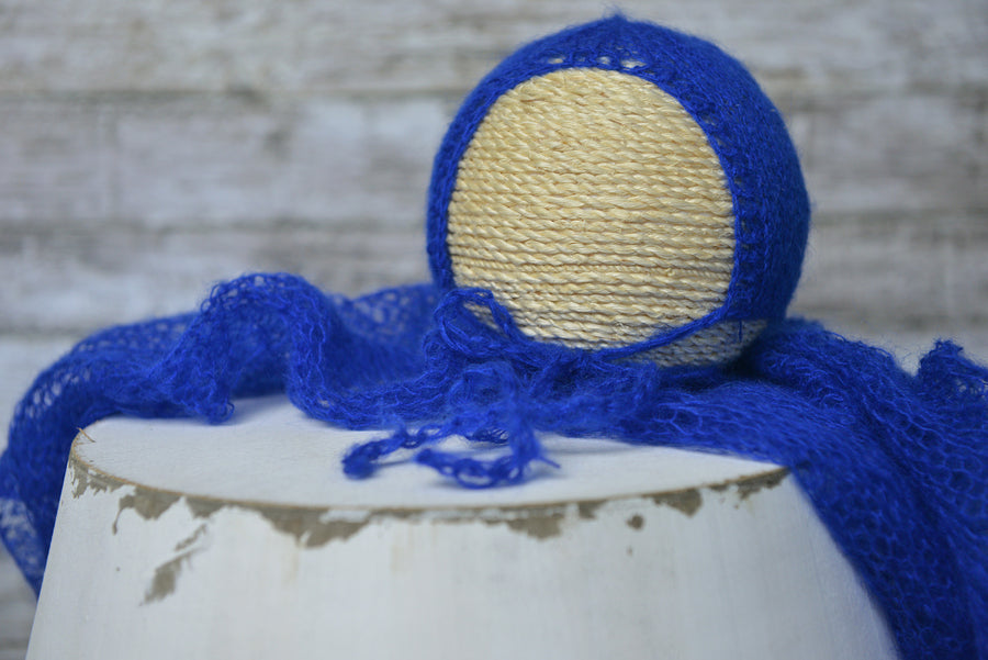 SET Mohair Knit Baby Wrap and Bonnet - Royal Blue