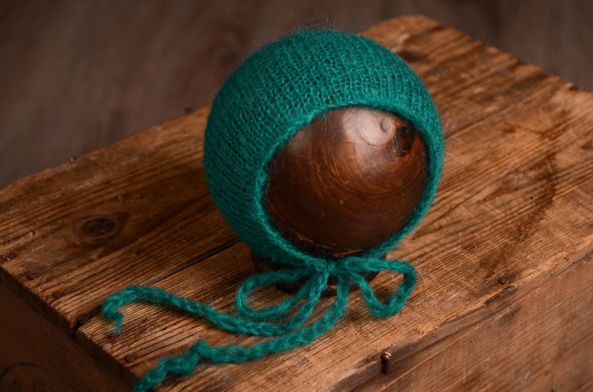 Mohair Bonnet - Peacock Green-Newborn Photography Props