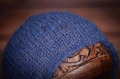 Mohair Bonnet - Steel Blue-Newborn Photography Props