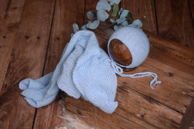 SET Smooth Mohair Bonnet and Wrap - Cloud
