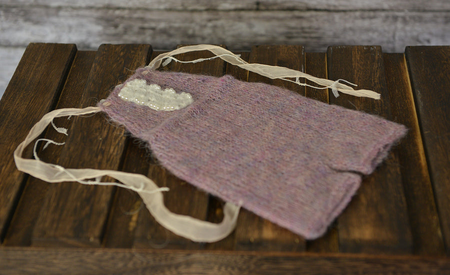 Mohair Overall with Beaded Accent - Lilac