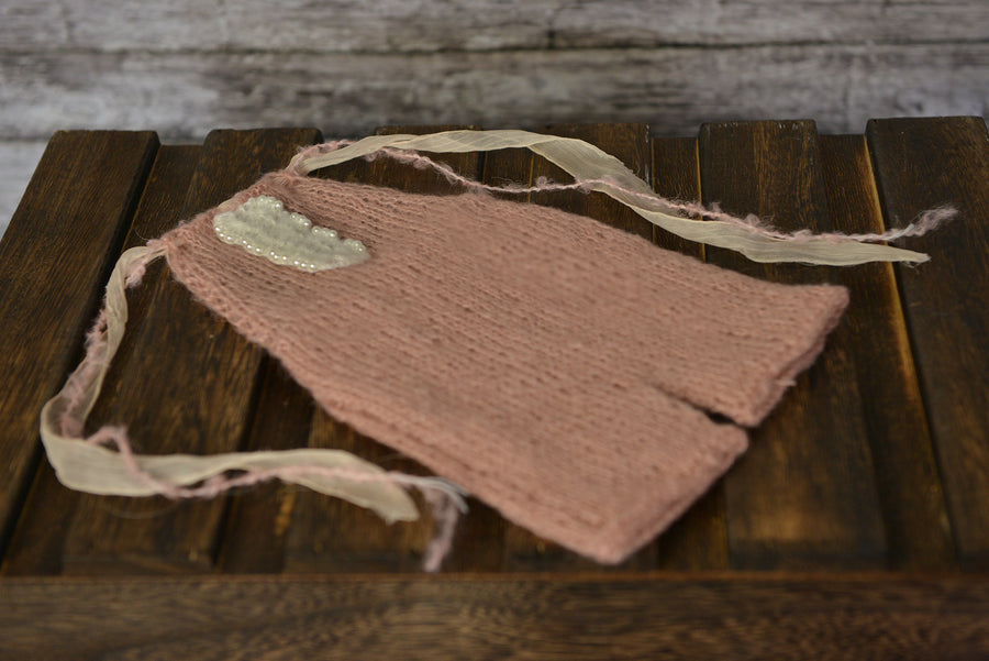 Mohair Overall with Beaded Accent - Nude Pink