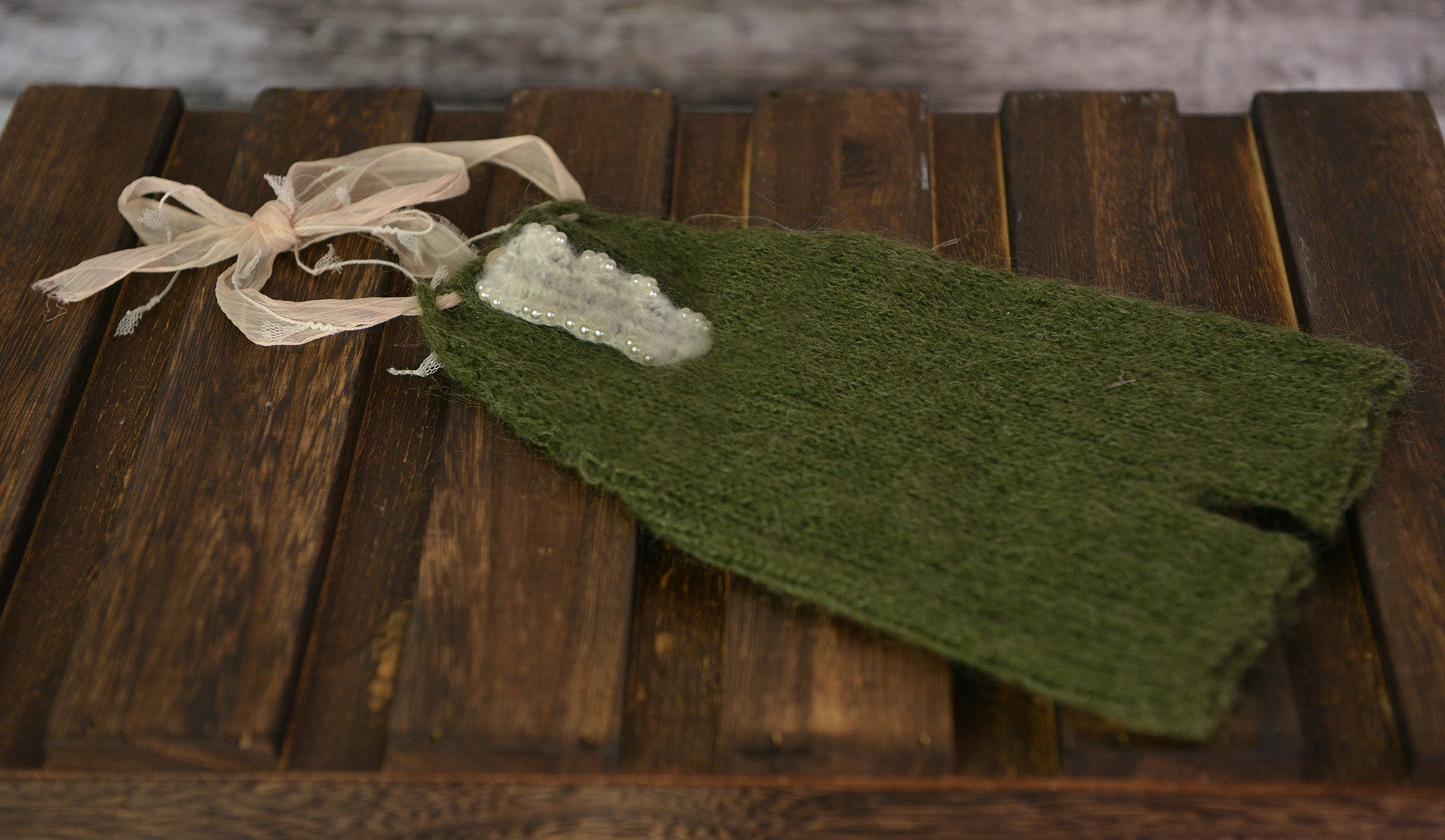 Mohair Overall with Beaded Accent - Olive