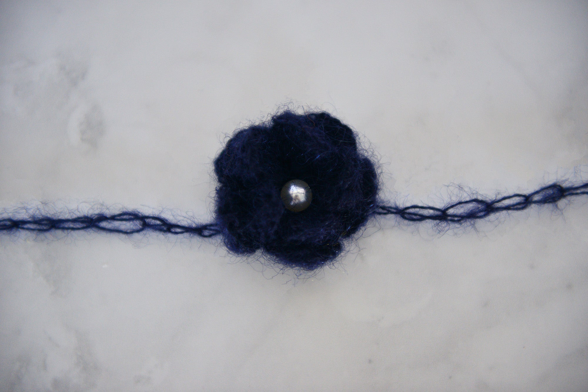 Mohair Flower Headband - Navy Blue