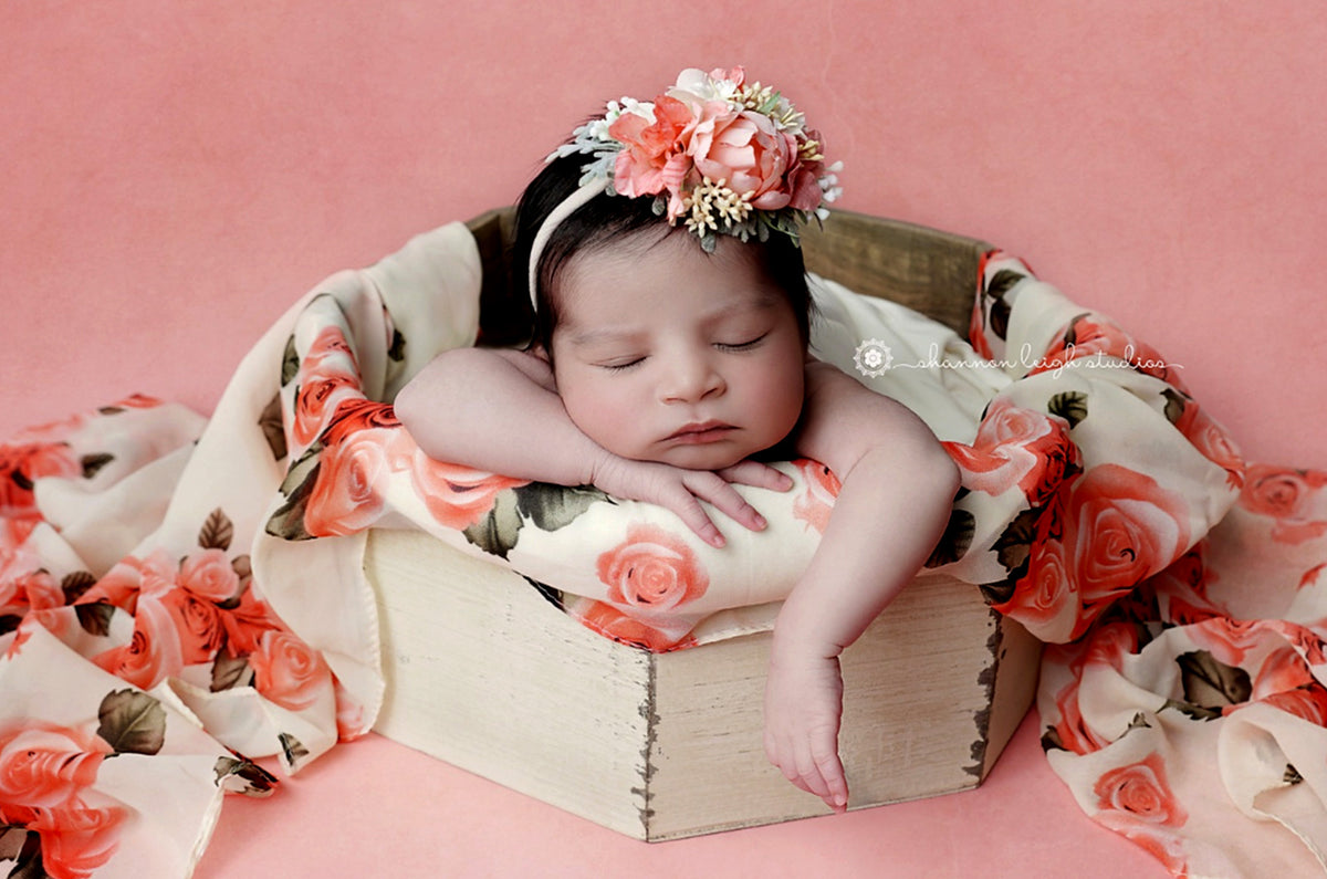 Rustic Bucket - Octogonal - Cream-Newborn Photography Props