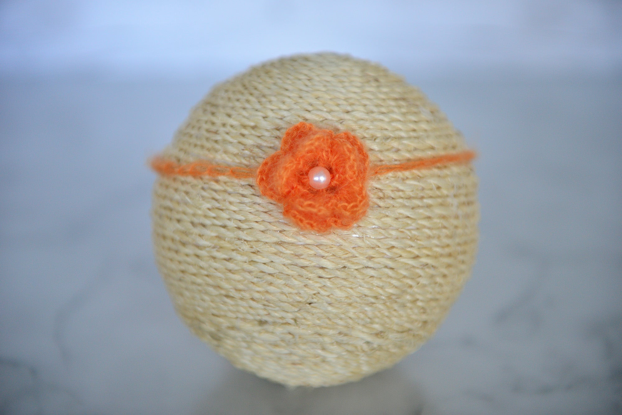 Mohair Flower Headband - Orange