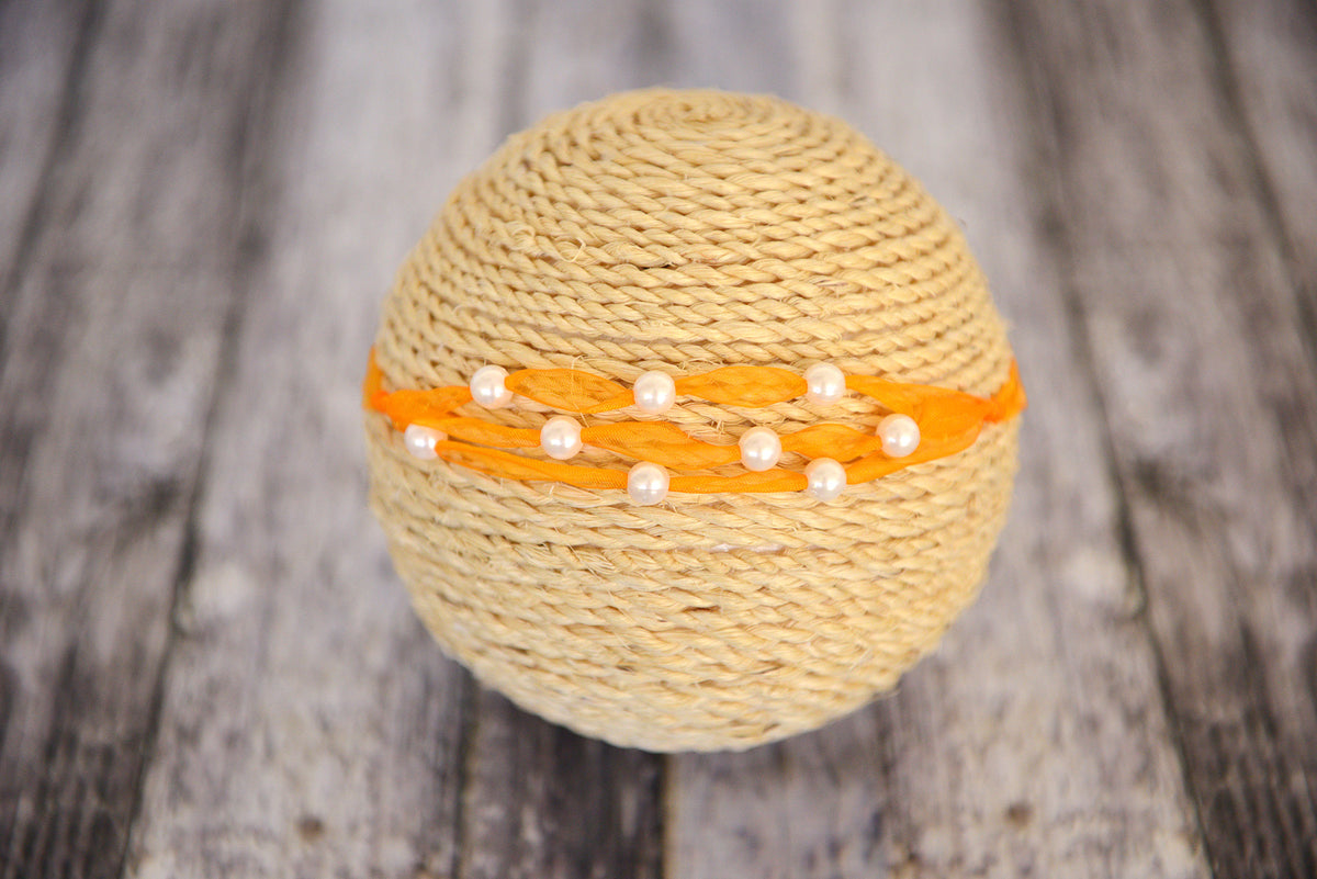 Beaded Ribbon Headband - Orange