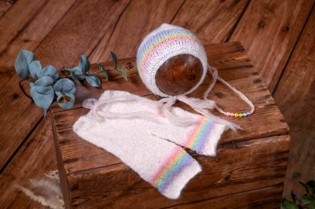 SET Mohair Pants and Adjustable Bonnet - Rainbow-Newborn Photography Props