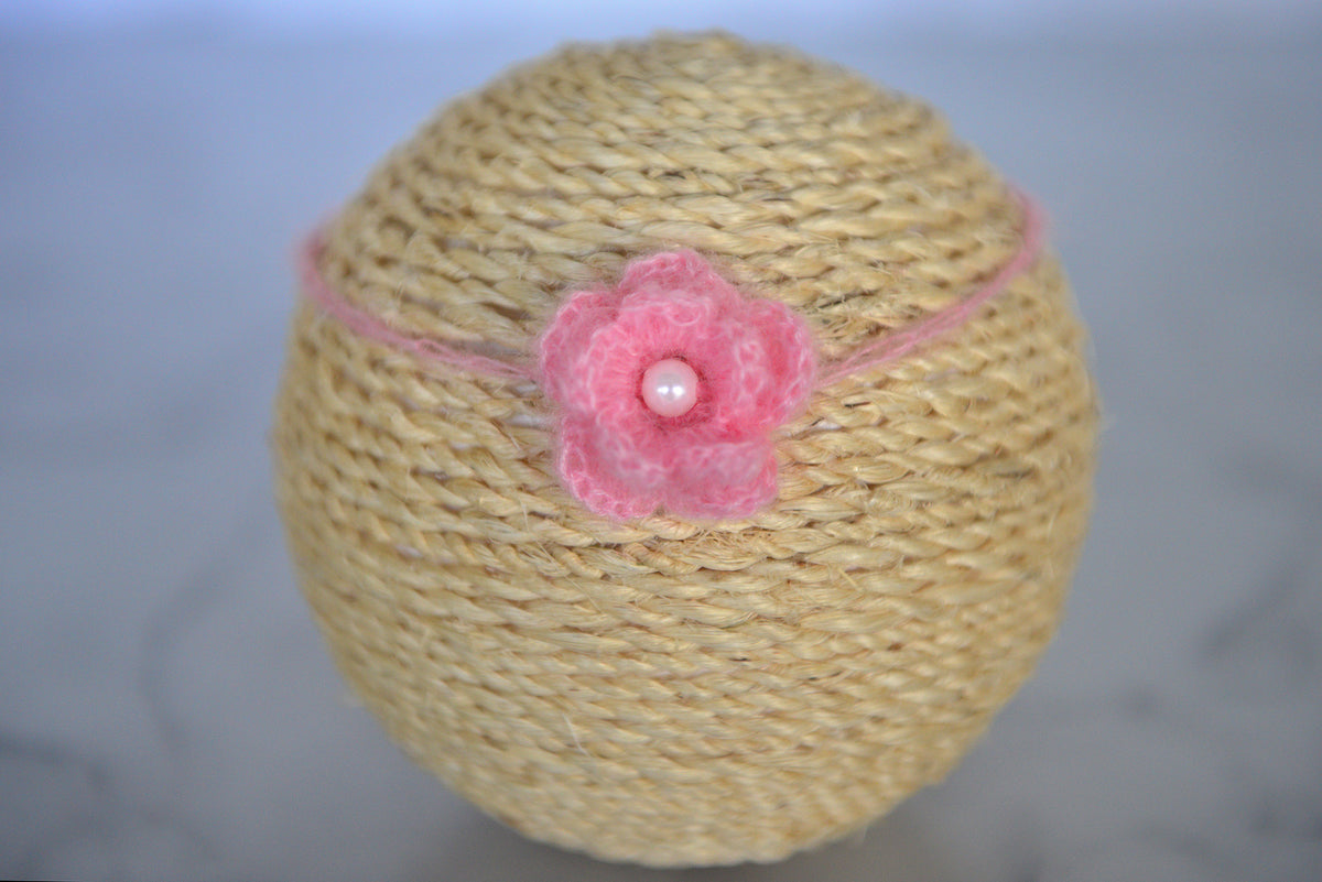 Mohair Flower Headband - Pink