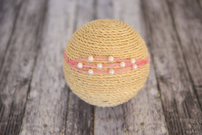Beaded Ribbon Headband - Pink