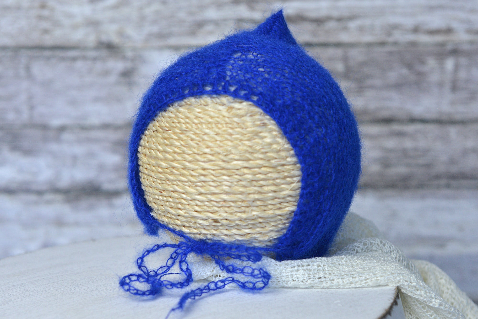 Adjustable Pointy Mohair Bonnet - Royal Blue-Newborn Photography Props