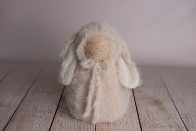 SET Rabbit Ears Bonnet and Sack - Beige