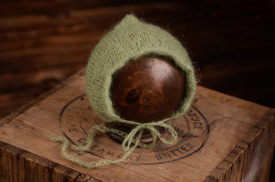 Adjustable Pointy Mohair Bonnet - Sage