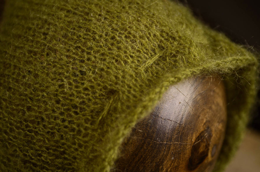Adjustable Pointy Mohair Bonnet - Olive