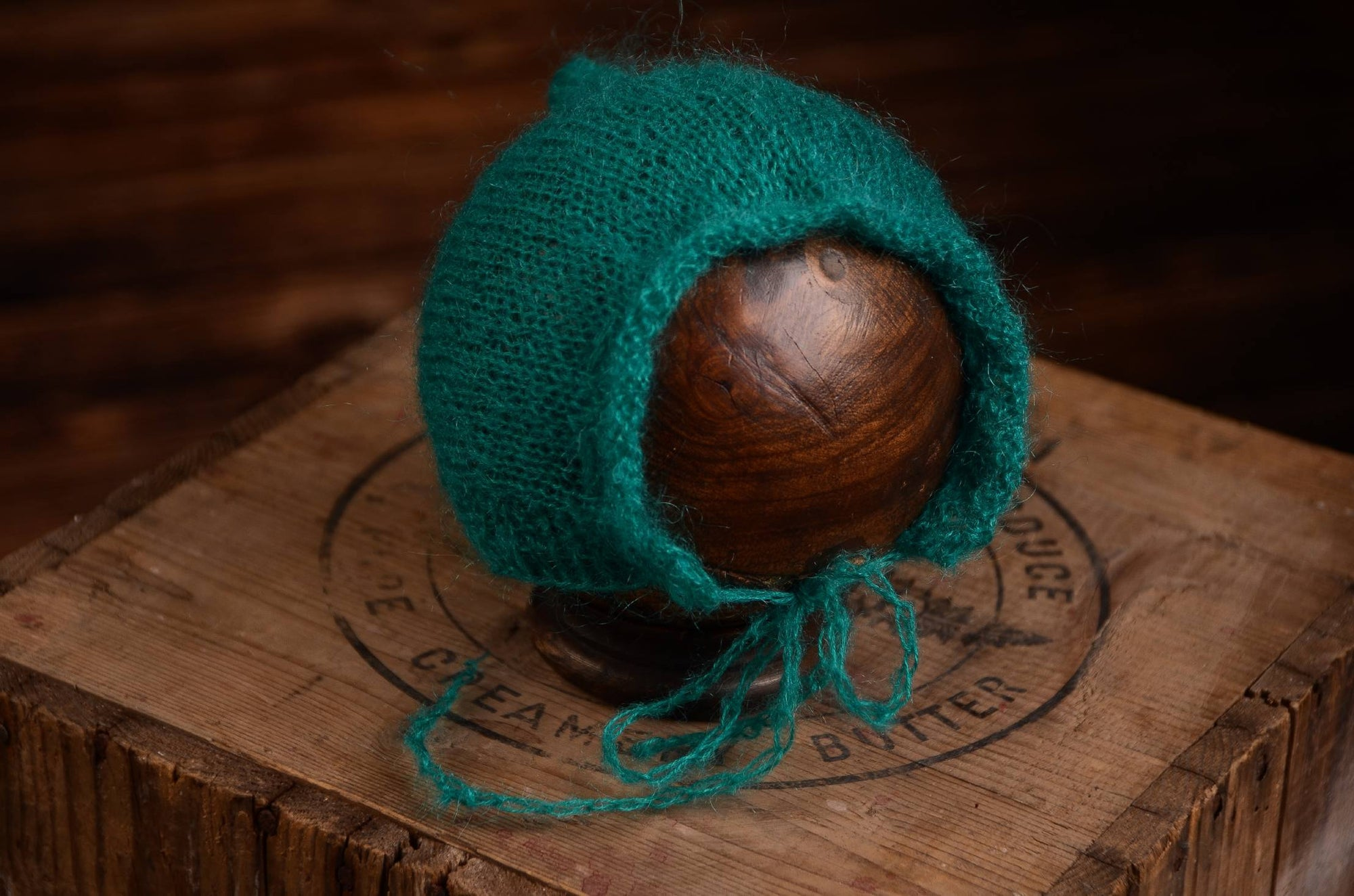 Adjustable Pointy Mohair Bonnet - Peacock Green-Newborn Photography Props