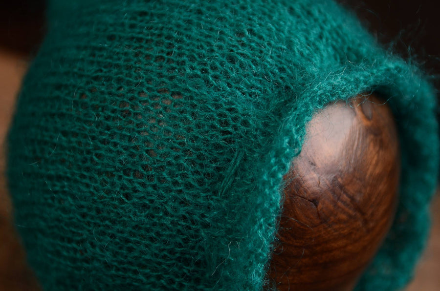 Adjustable Pointy Mohair Bonnet - Peacock Green