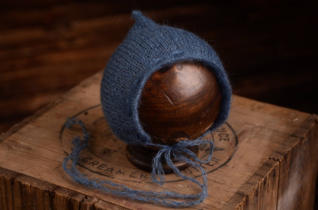 Adjustable Pointy Mohair Bonnet - Steel Blue
