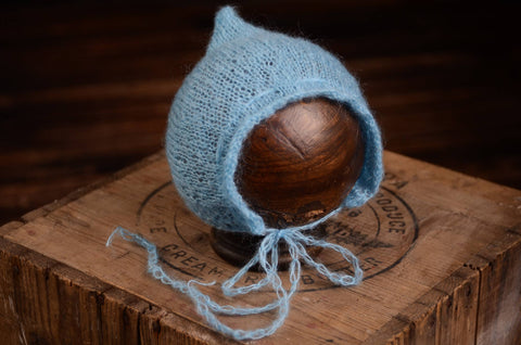 Adjustable Pointy Mohair Bonnet - Sky Blue