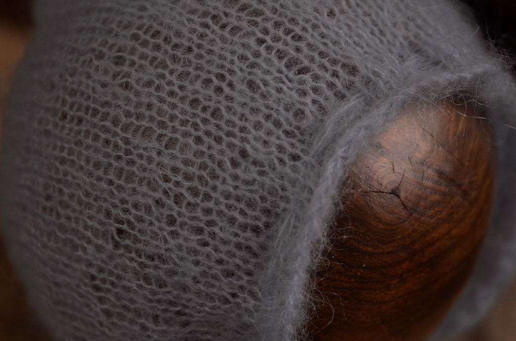 Adjustable Pointy Mohair Bonnet - Silver