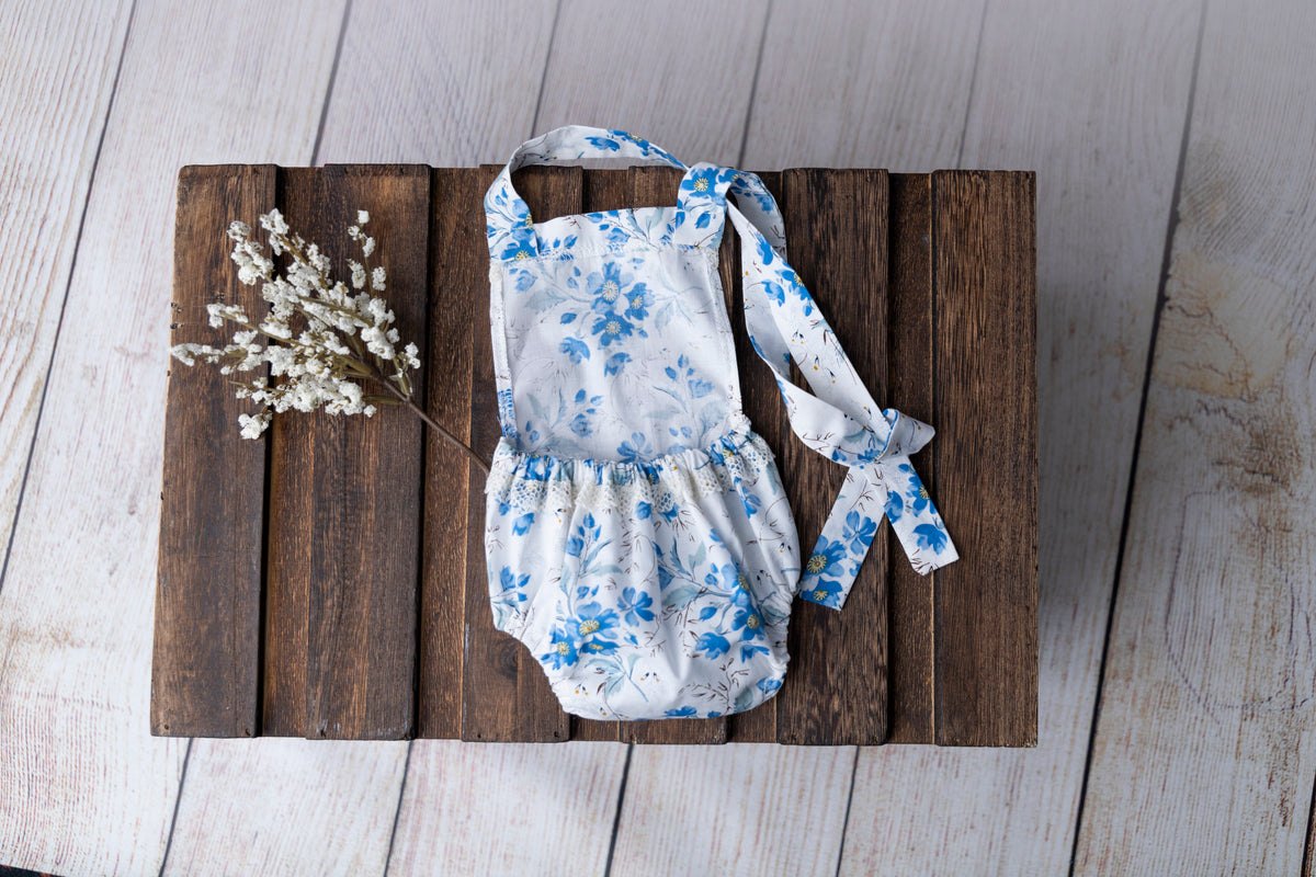 Bohemian Stitch Romper with Lace - Floral Blue