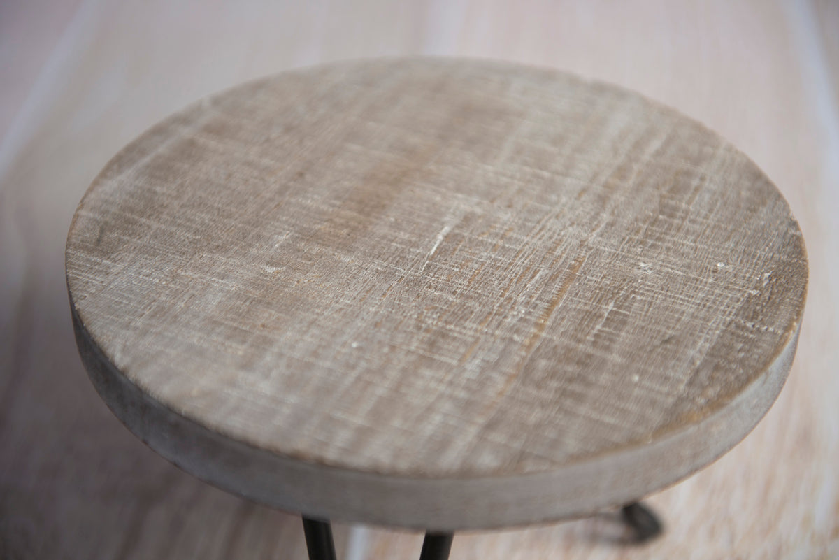 Modern Round End Table - White Washed Gray