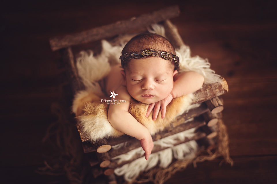 Rustic Log Crate-Newborn Photography Props