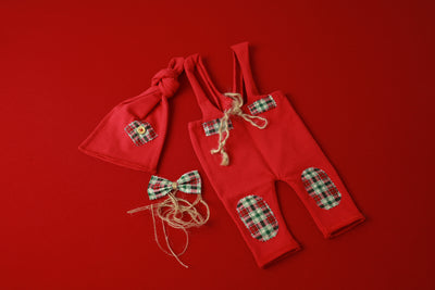 SET Dungarees 3-Piece Christmas Plaid - Red