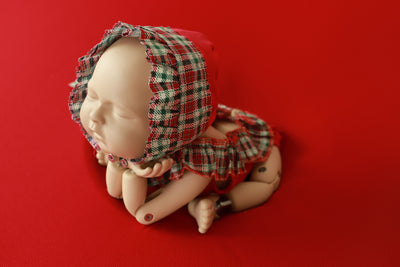 SET Christmas Bodysuit and Bonnet - Plaid