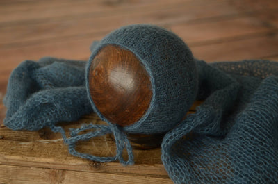 SET Mohair Knit Baby Wrap and Bonnet - Steel Blue
