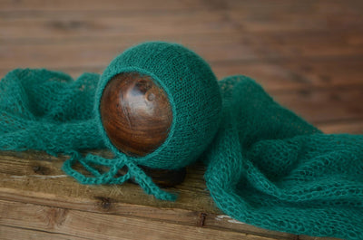 SET Mohair Knit Baby Wrap and Bonnet - Peacock Green