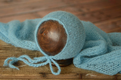 SET Mohair Knit Baby Wrap and Bonnet - Sky Blue