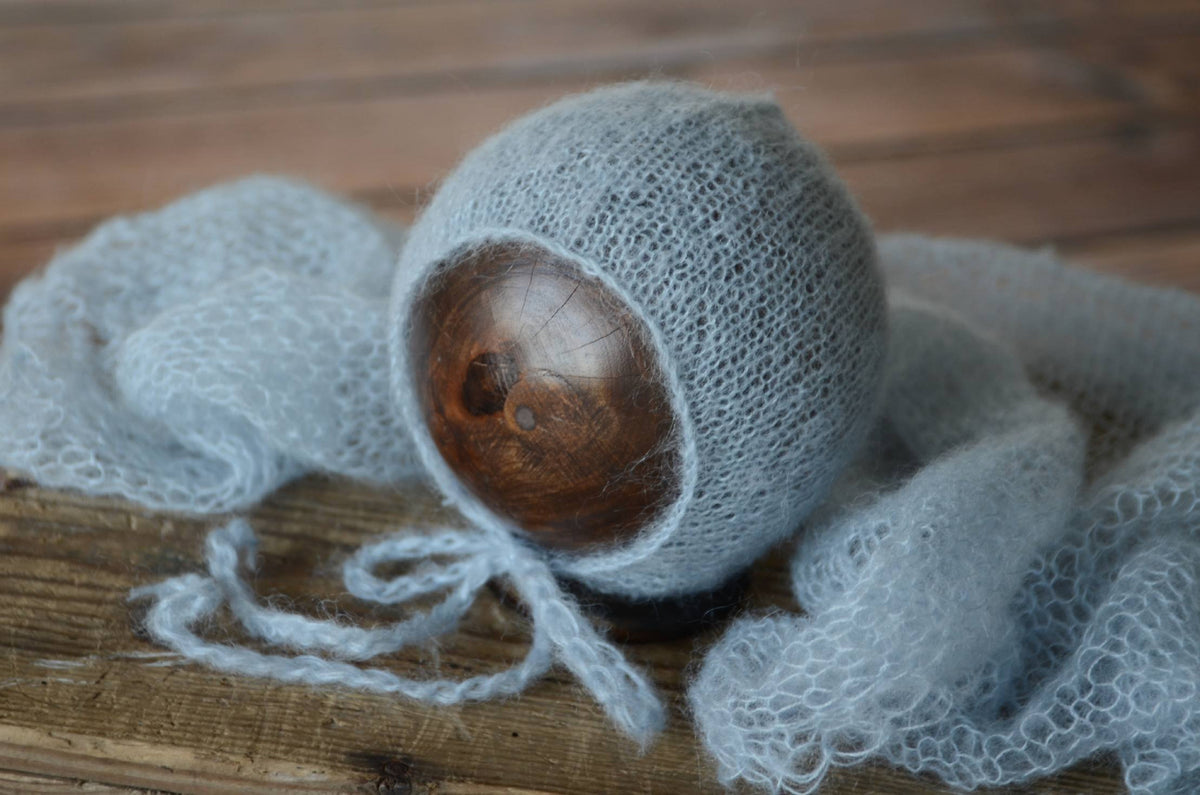 SET Mohair Knit Baby Wrap and Bonnet - Cloud-Newborn Photography Props