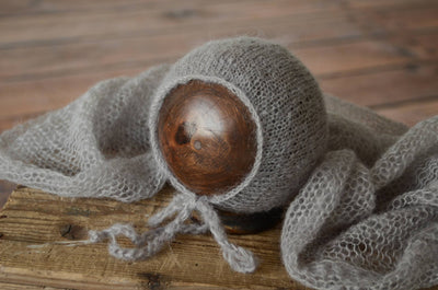 SET Mohair Knit Baby Wrap and Bonnet - Silver