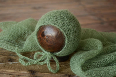 SET Mohair Knit Baby Wrap and Bonnet - Sage-Newborn Photography Props