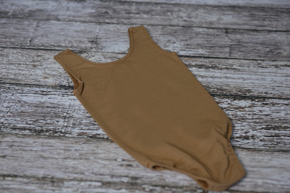 Sleeveless Stitch Romper - Light Brown-Newborn Photography Props