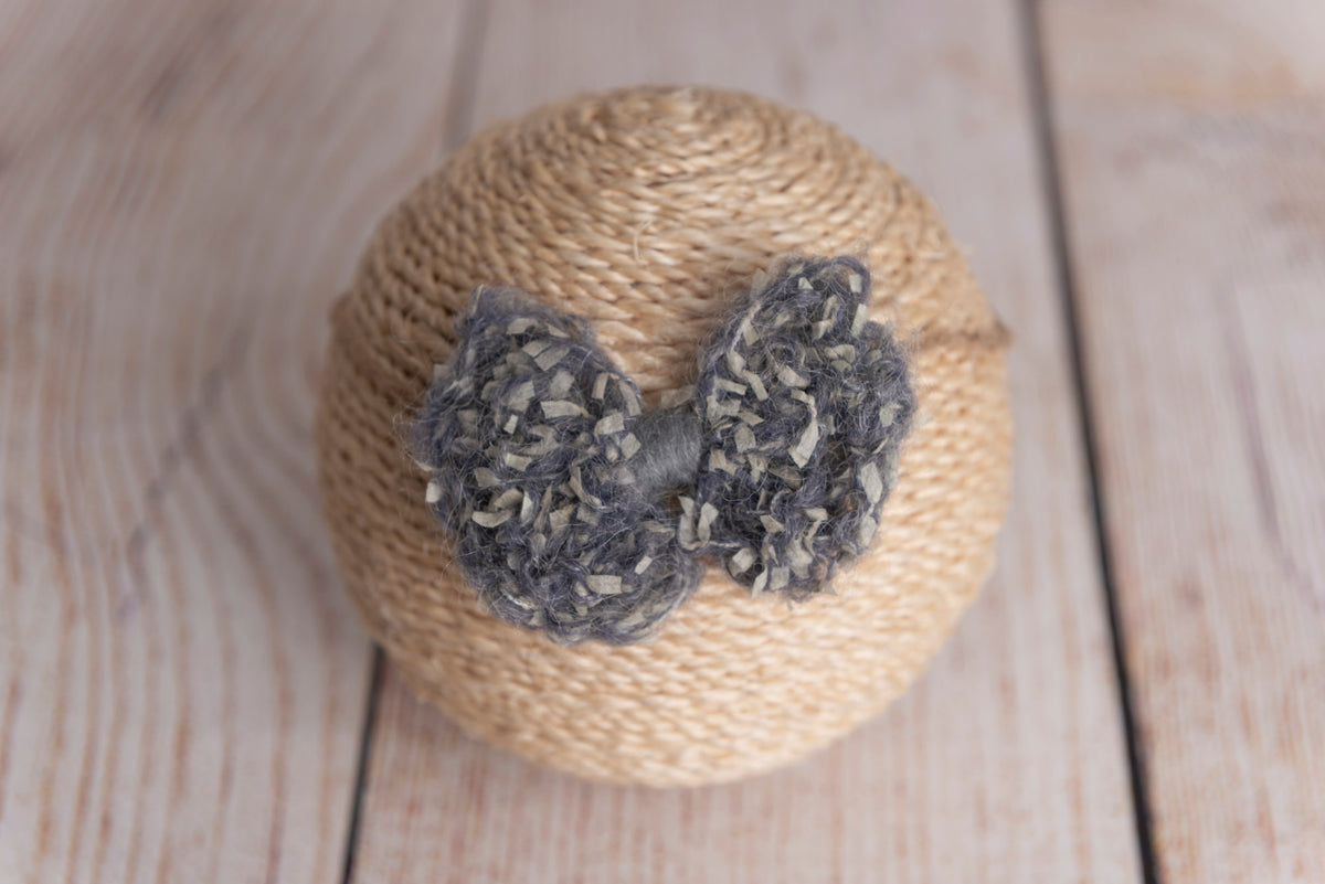 Speckled Mohair Bow Headband - Gray