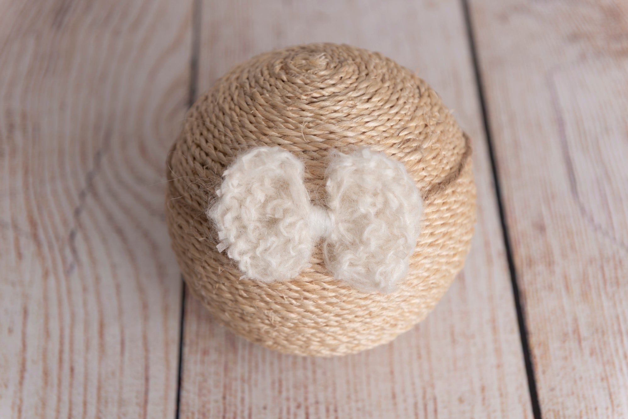 Speckled Mohair Bow Headband - Milk White