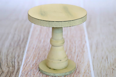 Rustic Cake Stand/Nightstand - 6.5in Tall - Cream