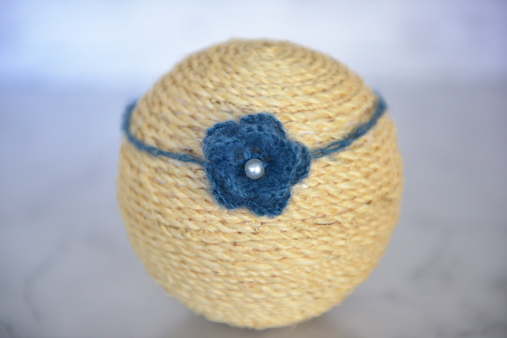 Mohair Flower Headband - Steel Blue