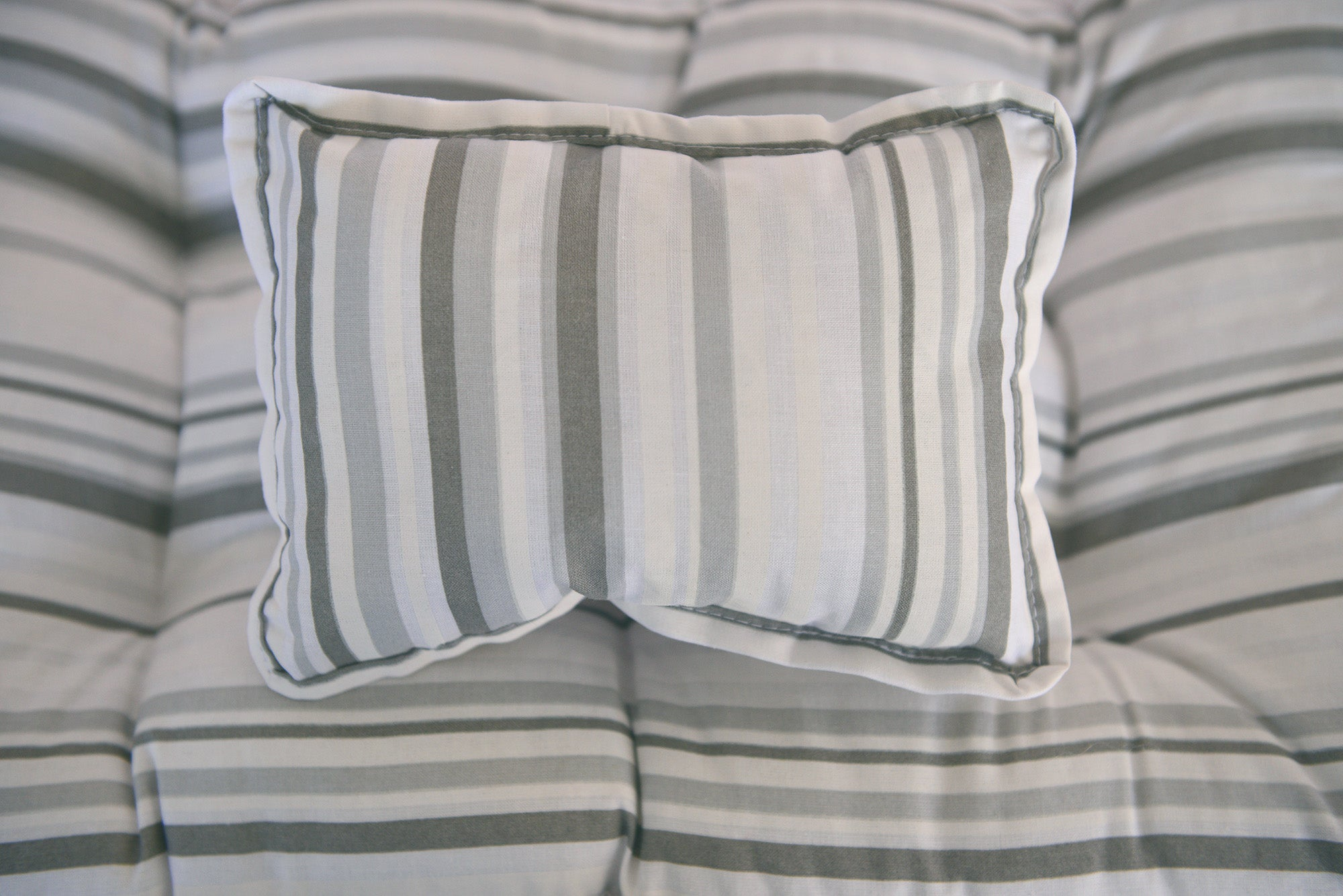 SET Mattress and Pillow - Gray and White Stripes-Newborn Photography Props