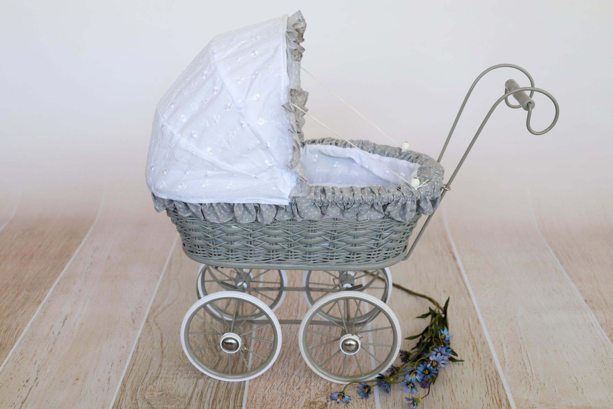 Vintage Pram Stroller - Gray and White