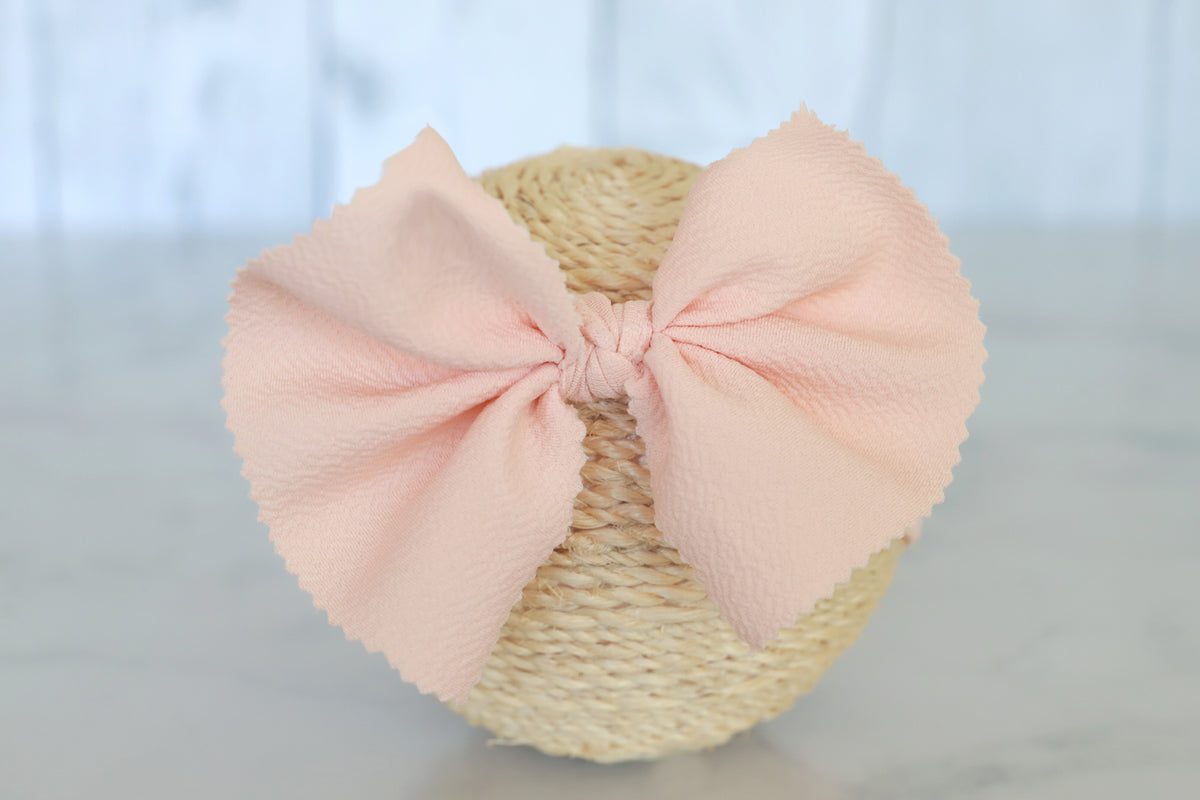 Bow Headband - Textured - Pale Peach
