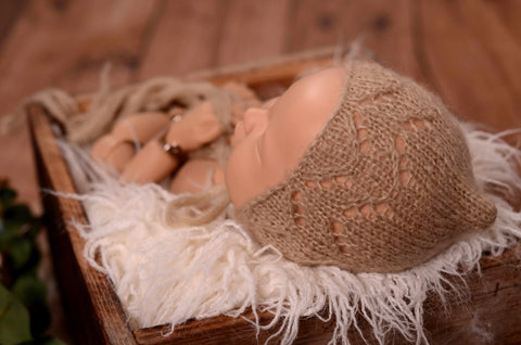 Threaded Mohair Bonnet - Beige
